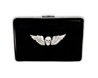Metal Cigarette Case Antique Silver Skull and Wings Inlaid Within Hand Painted Black Onyx Enamel Metal Wallet Gothic Victorian Inspired