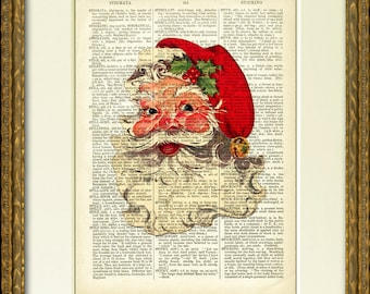 JOLLY SANTA Dictionary Page Print - an upcycled 1800's dictionary page with a vintage Santa Claus illustration - fun Christmas wall decor