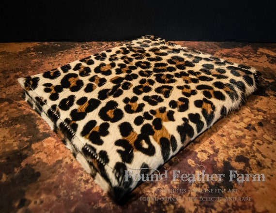Vintage Stenciled Hair on Hide Calf Skin Faux Leopard Pattern Binder