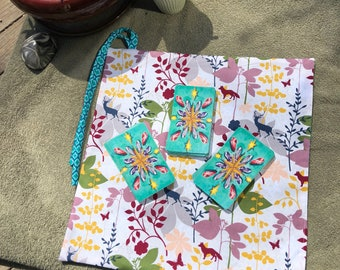 Woodland creatures outer with Teal Mini-Quatrefoil inner- Tie strap - Tarot Deck travel Pocket Mat- Tarot Pouch