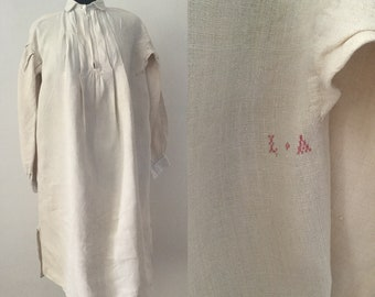 Antique French Smock Shirt L.A Red Stitched Monogram Button Collar Long S
