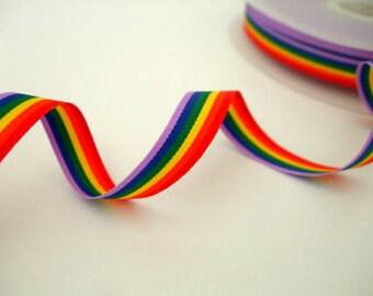 Rainbow ribbon, Gay Pride ribbon, sold in 3m lengths