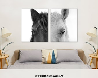 Horse Print Black and White Photography, Horse Wall Art Printable, Horse Large Wall Art, Horse Eye Photo Set of 2 Couple Wall Art (W0903)