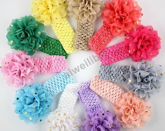 Gold Polka Dot Chiffon flower Headband,chiffon headband, Infant Headband, Baby Headband