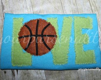 Youth Basketball LOVE raggy design -- basketball shirt -- bball shirt