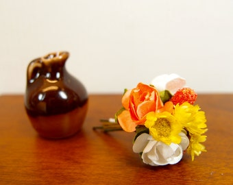 1:12 Orange Yellow Roses and Fruits Floral Arrangement, Flowers Bouquet in Ceramic Vase Jar, OOAK one inch scale dollhouse artisan miniature