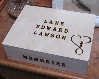 Full name Memory box with elegant heart shape design with name within. Large keepsake box.