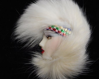 vintage LADY FACE pin with fur 1970s fantastic warehouse find wow