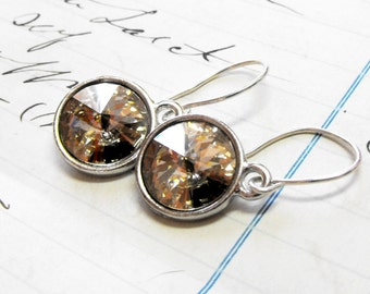 Earrings, Swarovski Crystal Golden Shadow - Sterling Silver Earrings