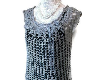 Handmade Crochet Lacy Top In Smoke Gray