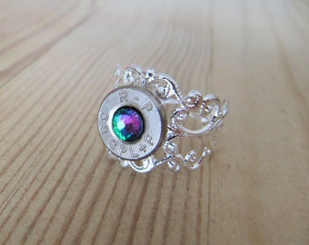 Bullet Ring - 38 Special Bullet Ring with Rainbow Swarovski Crystal Accent - Bullet Ring - Bullet Jewelry - Casing Jewelry - 2nd Amendment