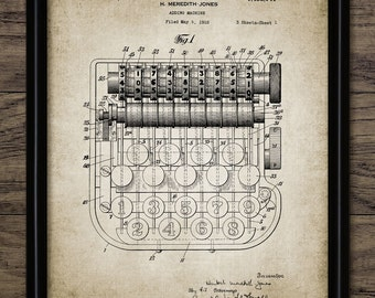 Vintage Adding Machine Patent Print - Accounting Gift - Calculator Poster - Mathematics Printable Art - Single Print #416 - INSTANT DOWNLOAD