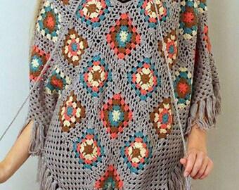 Poncho with woolen hood crochet handmade woolen woman's vest