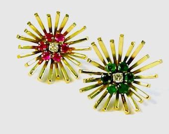 Stunning 18k Gold Emerald Ruby Diamond Earrings