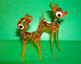 Miniature Glass Rudolph the Red Nosed Reindeer Figurine and Deer Friends