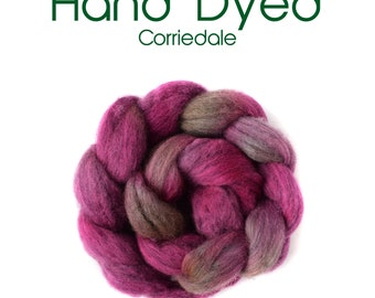 Hand Dyed Natural Grey Corriedale - 100g/3.5oz - grey - pink - green