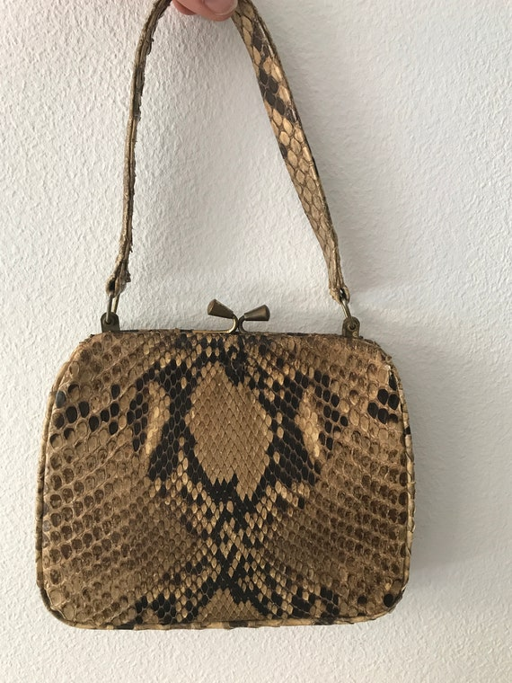 Vintage snakeskin handbag   fifties handbag   brown snakeskin bag   fifties leather bag   Rare handbag   Stylish handbag   vintage partybag