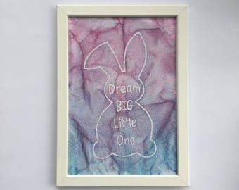 Baby room Wall Hanging/ Dream big little one/Baby room decor/rabbit baby decor/nursery /child's bedroom/New Baby gift/handmade batik