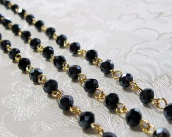 """One Meter 39.5"""" Faceted Black AB Rondelle Glass 6mm Beaded Rosary Link Chain Gold 951"""