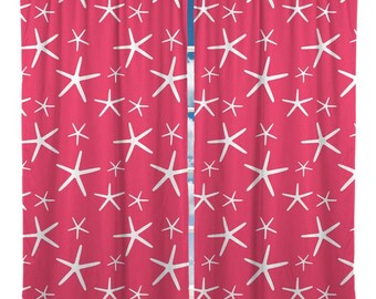 Custom Window Curtain, Starfish Shown Aqua, Coral or Mint - Any Size - Any Colors - Any Pattern