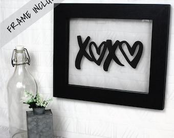 XOXO / Hugs & Kisses / Frame Included / Office Decor / Nursery Wall Art