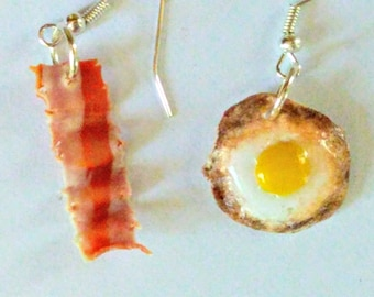 Bacon and Eggs Earrings, Miniature Food Jewelry, Inedible Jewelry, Breakfast Food Jewelry, Bacon Jewelry, Fried Eggs Jewelry, Kawaii Jewelry