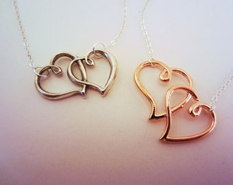 Double heart necklaces. Friendship necklaces, heart necklace, best friend gift. Silver and rose gold. Friendship jewelry. Valentine's gift.