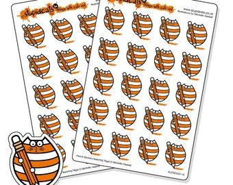 Pencil planner stickers - stickers for writing, drawing, colouring, homework - 40 orange cat stickers