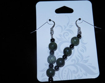 Russian Jasper & Hematite Sterling Silver Earrings