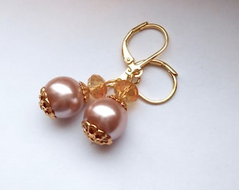 Pink Glass Pearl and Crystal Earrings