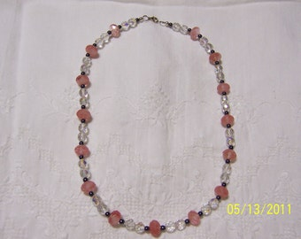 Cherry Quartz, Hematite and chzec. crystal necklace