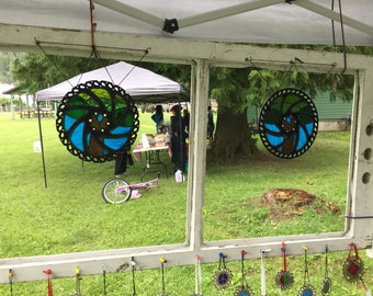 Large Stained Glass in Recycled Bicycle Ring