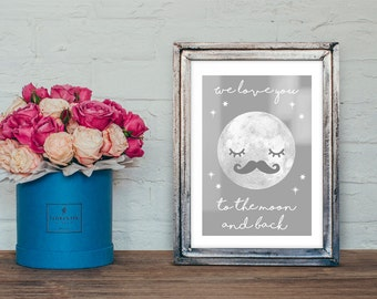 cute moon quote A4 print / Nursery wall Art print-newbaby gift -nursery decor -christening gift