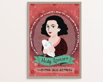 Hedy Lamarr, women in science poster, science print, illustrated poster, women of science, women in STEM portrait, Hedy Lamarr poster