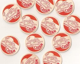 Vintage / Whipping Cream Dairy Caps / One Dozen / Altered Art / Scrapbooking / Orange and Magenta