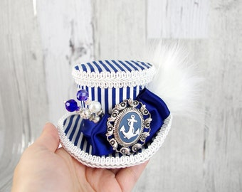 Blue and White Striped Anchor Cameo Nautical Sailor Small Mini Top Hat Fascinator, Alice in Wonderland, Mad Hatter Tea Party, Derby Hat