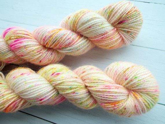Hand Dyed Sock Yarn Superwash Wool Nylon 80/20 Fingering Weight Yarn Sock Yarn 50 Grams - Neon Speckled Rainbow Yarn Pale Pink Confetti Cake