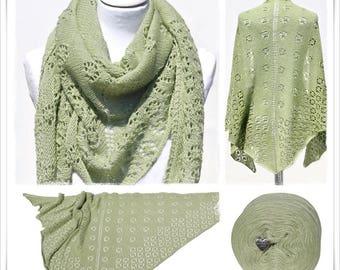 Knitting Pattern Lace Shawl Flowers & Lime