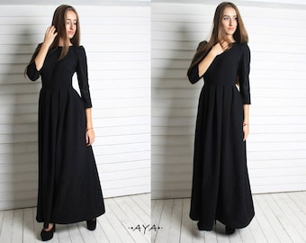 Black,maxi,full length,wedding,bridal,pageant,homecoming,party,spring,summer,evening, inverted pleat, modesty, embroidery,dress