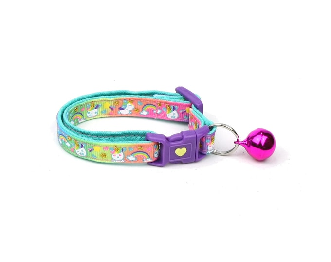 Unicorn Cat Collar - Cute Unicorns on Rainbow -Small Cat / Kitten Size or  Large Size Collar