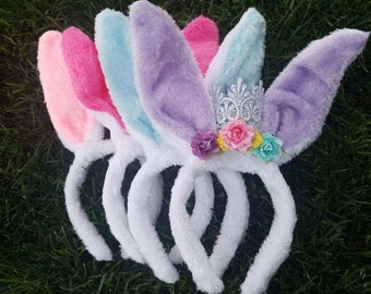 Bunny Princess Ears, Easter Bunny Ears, Easter Crown, Easter Crown headbands