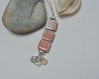 Mahogany pellets - Necklace - Lampwork jewelry by Loupiac