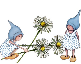 Clipart Printable  Hand Drawn Gnome Girls Picking Daisies Whimsical Original Fantasy Art, Commercial Use, jpg and png files Instant Download