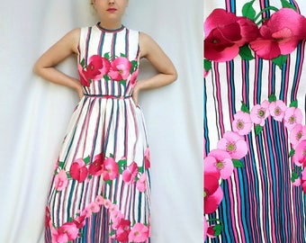 Vintage 1960's / 1970's Floral Maxi - Hot Pink Stripes and Flowers, High Neck, Sleeveless Malcolm Starr