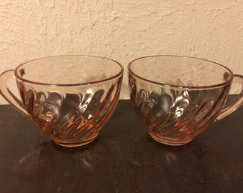 Arcoroc - Pink Swirl Pattern Glass - 2 Teacups- Made in France