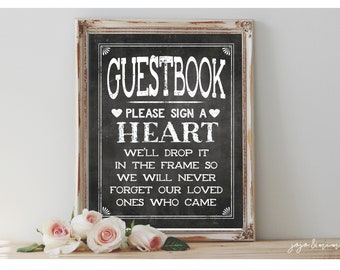 Instant 'Please sign a Heart' Printable 8x10 and 11x14 Event Sign Wedding Party Guestbook Alternative Chalkboard