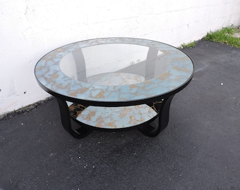 Mid Century Modern Round Painted Glass Top Coffee Table 7011
