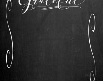 22 x 28 Family Gratitude Board (unframed chalkboard-look poster - must be framed)
