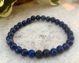 Lapis Gemstone And Lava Diffuser Bracelet, Aromatherapy Jewelry, Chakra jewelry, Healing Properties, Natural Remedy