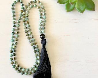 Nurture Mala ~ 108 Bead Mala Necklace; Sesame Jasper Gemstones, Black Onyx Guru Bead & Black Silk Tassel. Always Grow.
